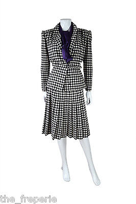 *valentino* Vintage Miss V Two Piece Black & White Checked Suit (42)