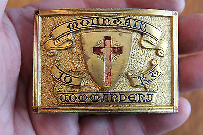 Antique Knights Templar Belt Buckle-Mountain Commandary Altoona Pa. -Gold Tone