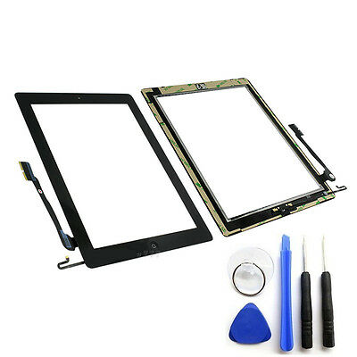 OEM Black Glass Touch Screen Digitizer W/ Home Button iPad 4 4th Tools Adhesive