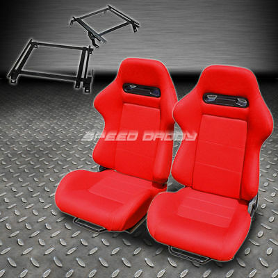 Pair Type-R Red Cloth Reclining Racing Seat+Bracket For 02-06 Acura Rsx Dc5