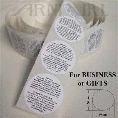 5cm WARNING LABELS for CANDLE MAKING 50mm INSTRUCTION STICKERS Jar Tin Candles