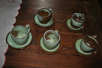 Vintage Frankoma Plainsman Green Cup and Saucer set, 5 available VGUC