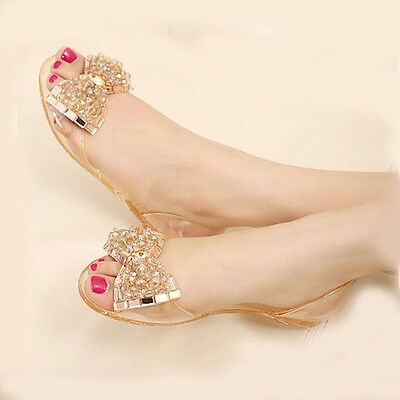 c45c51d07 Women s Fashion Beaded Jelly Flats Bow Sandals Clear Summer Beach Shoes  Slip On