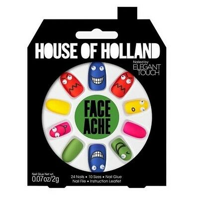 House of Holland faux ongles - visage mal Multi Couleur Ongles (24 ongles)