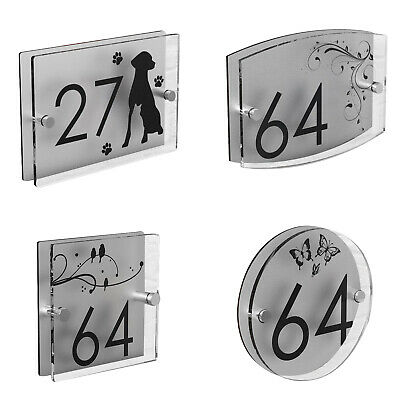 House Number Plaques Patterned Door Acrylic Sign Street Name Plate