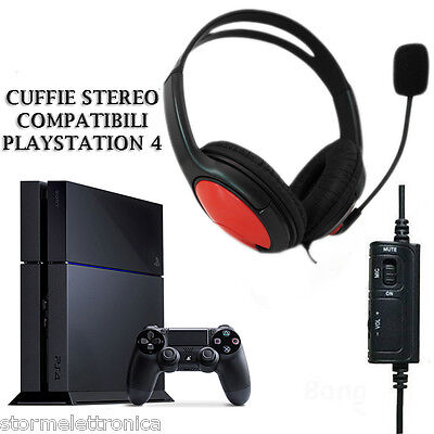 Cuffia Stereo Microfono Compatibile Sony Playstation  4 Ps4 Chat Network Gaming
