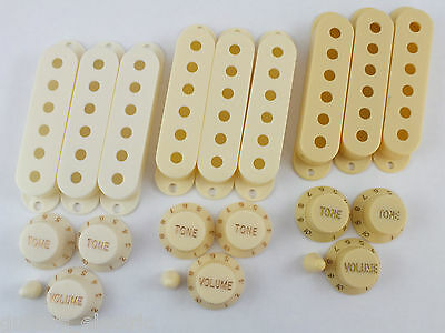 Strat PICK UP COVERS, KNOBS & TIP in 3 SHADES of CREAM for Stratocaster guitar