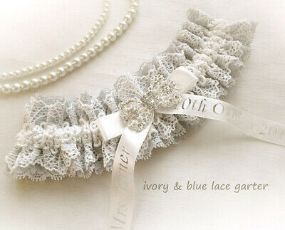 Vintage Inspired Light Ivory Blue Lace Wedding Bridal Personalized Garter