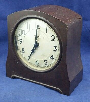 Vintage Art Deco Bakelite Smith Sectric Mantel Clock, Spares Or Repair