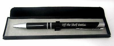 Laser Engraved Customized Personalized Metal Pen Black With Trim & Case