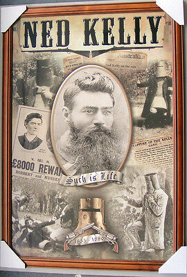 """NED KELLY framed POSTER """"READY TO HANG"""" SUCH IS LIFE """"LICENSED POSTER IN FRAME"""