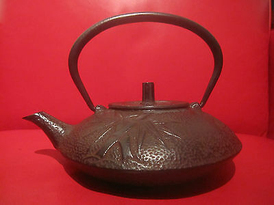 Vintage Cast Iron Japanese Tetsubin Teapot Water Kettle BLACK Bamboo LINED
