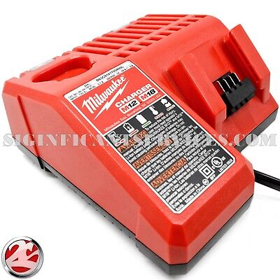 New Milwaukee 48-59-1812 M18 M12 18V 12V Red Lithium Ion Li-Ion Battery Charger