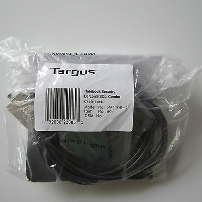 Targus PA410S-1 Notebook Security Defcon SCL Combo Cable Lock