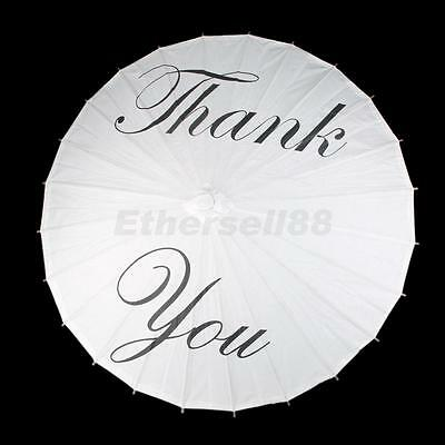 """Paper Umbrella Parasol Bridal Favor with """"Thank you """" Hand Fan White Wood"""