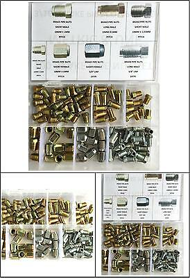 100 Assorted Male And Female Brake Pipe Nuts In Plastic Box Metric & Unf