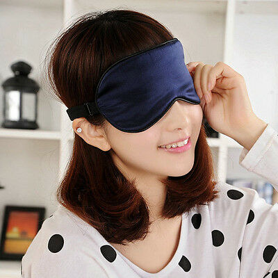Pure Silk Padded Sleep Eye Mask Shade Cover Navy Blue BlackTravel Blindfold New