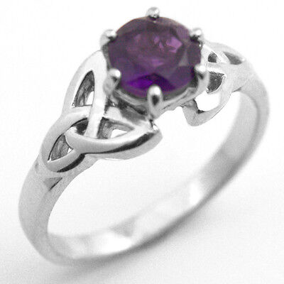 Trinity Knot Ring Diamond-Unique 1ct Amethyst Solid 9ct Gold UK Hallmarked