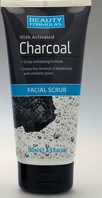 ** Beauty Formulas Facial Scrub With Activated Charcoal Exfoliating New* 150Ml