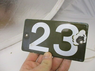Vintage Enamel House Number Sign Plaque Flat 23 Green & White Retro French