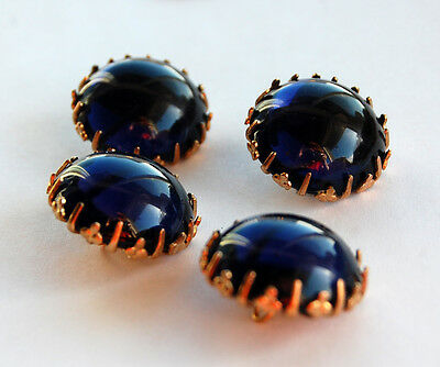VINTAGE 4 MONTANA BLUE GLASS BUTTON BUTTONS ORNATE BRASS SETTINGS LARGE BIG 21mm