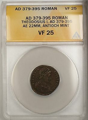 379-395 AD Roman Theodosius I Antioch Mint Bronze Ancient Coin AE ANACS VF 25