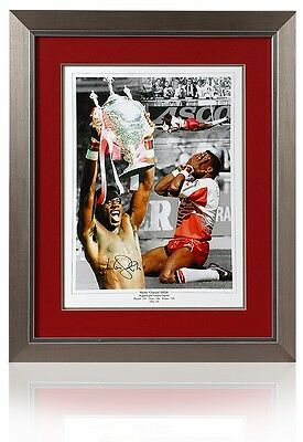 Lrge MARTIN OFFIAH Hand Signed Wigan Warriors Rugby League AFTAL Photo Proof COA