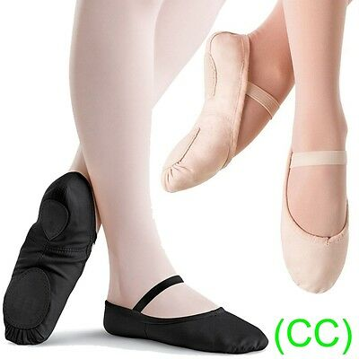 Pink & Black CANVAS Ballet Dance Shoes split suede sole Children's & Adults (CC)