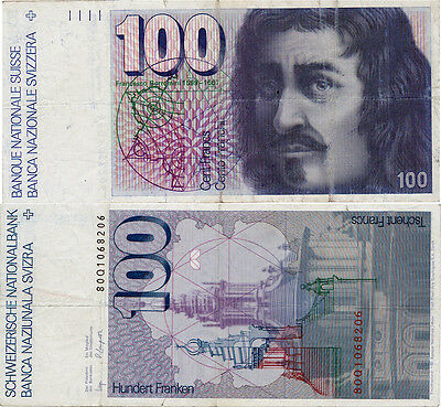 Switzerland 100 Francs 1980 P57 Bank Note - Rare!