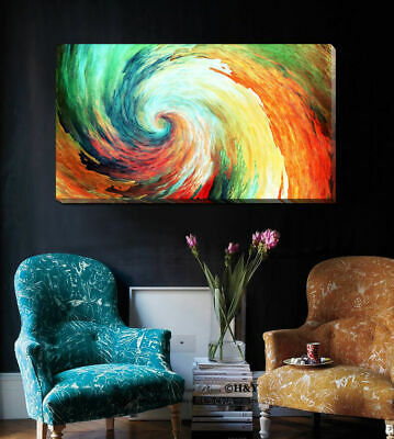 Colour Wave Abstract Pattern Stretched Canvas Print Framed Wall Art Home Decor