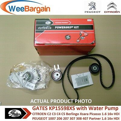 PEUGEOT 206 207 307 308 407 1.6 HDi GATES KP15598XS Timing Belt Water Pump Kit