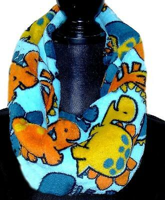 Dinosaur Infinity Circular Scarf Toddler Boy Child Blue Aqua Multi Color Minky
