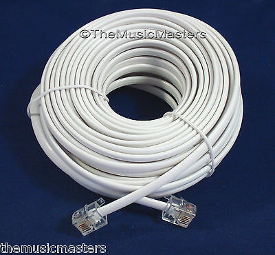 White 50' ft Telephone Modular Line Cord Phone Cable Extension Wire RJ11 VWLTW