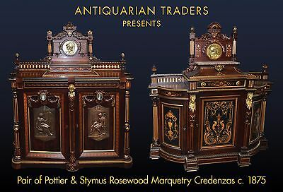 Pair of Pottier & Stymus Inlaid Rosewood Credenzas, American, c. 1875 #7809