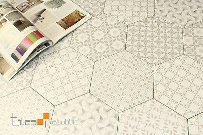 Encaustic Hexagon Retro Matt Ceramic Floor & Wall Patchwork Tile 200x230