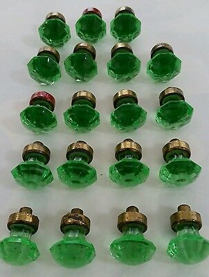 The Best!!!  Set Of 19 Vintage Depression Glass And Brass Cabinet Knobs