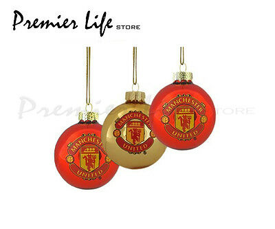 Manchester United FC Baubles with Team Crest Christmas Baubles Pack of 3