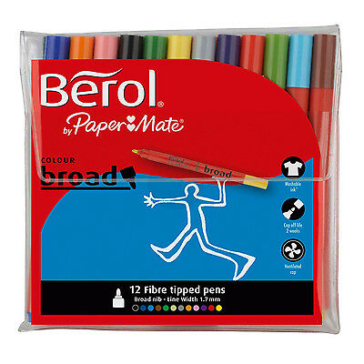 Berol Colour Broad 12 Fibre Tipped Colouring Pens Assorted Colours Free Delivery