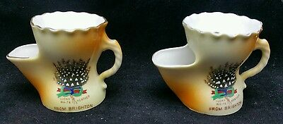 Matching Pair of Lucky white Heather From Brighton shaving cups by Gemma