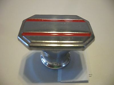 VINTAGE 1940's Chrome Rectangular Drawer KNOBS w RED lines Cabinet Door Pulls