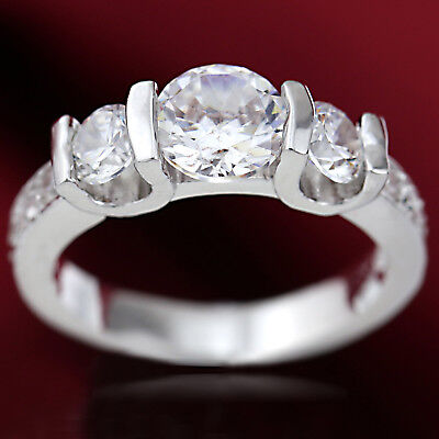 18K White Gold Gf Trilogy Diamond Simulated Solid Women Engagement Wedding Rings