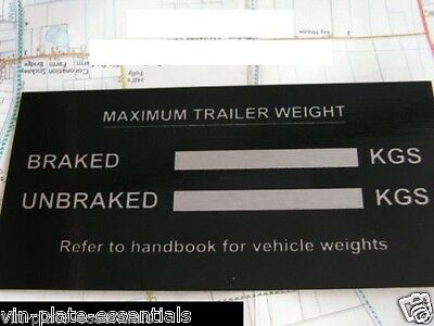 Tow Bar Plate Rating Plate Trailers For Towing Car Horse Box Caravan Multi Axle