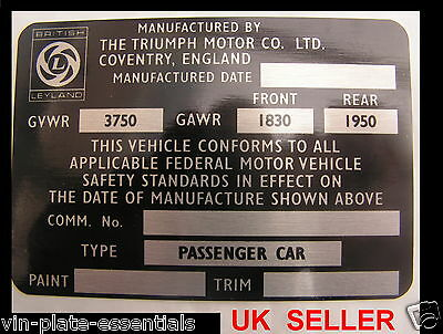Triumph Stag Usa Model Chassis Plate Classic Car Repro Id @ Vin-Plate-Essentials