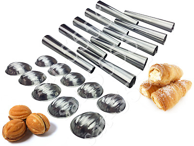 METAL MOLDS FORMS SET of 40 DESSERT PASTRY TUBES AND NUTS ТРУБОЧКИ ORESHKI RURKI