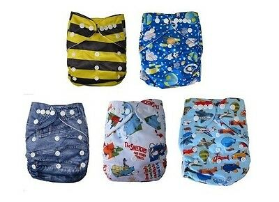 Modern Cloth Reusable Washable Baby Nappy Diaper new 5 PACK boy starter set #071