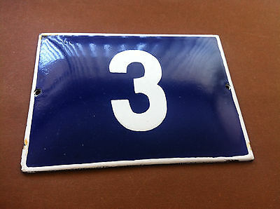 ANTIQUE VINTAGE FRENCH ENAMEL SIGN HOUSE NUMBER 3 DOOR GATE SIGN 1950's