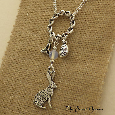 Moon-Gazing Hare Celtic Necklace - Opalite Moonstone Pendant - Wiccan - Pagan