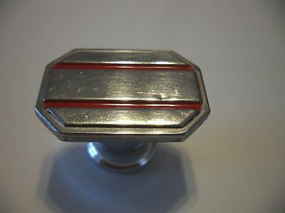 VINTAGE 1940's Chrome Rectangular Drawer KNOB w RED lines Cabinet Door Pull