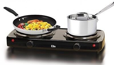 Electric Double Buffet Burner Portable Kitchen Cooktop Elite Cuisine Stove Black