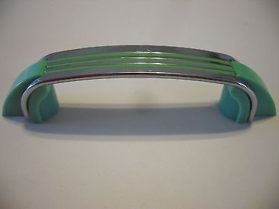 Vintage CHROME DRAWER Pull w 3 GREEN Lines & Plastic Trim Cabinet Door Handle